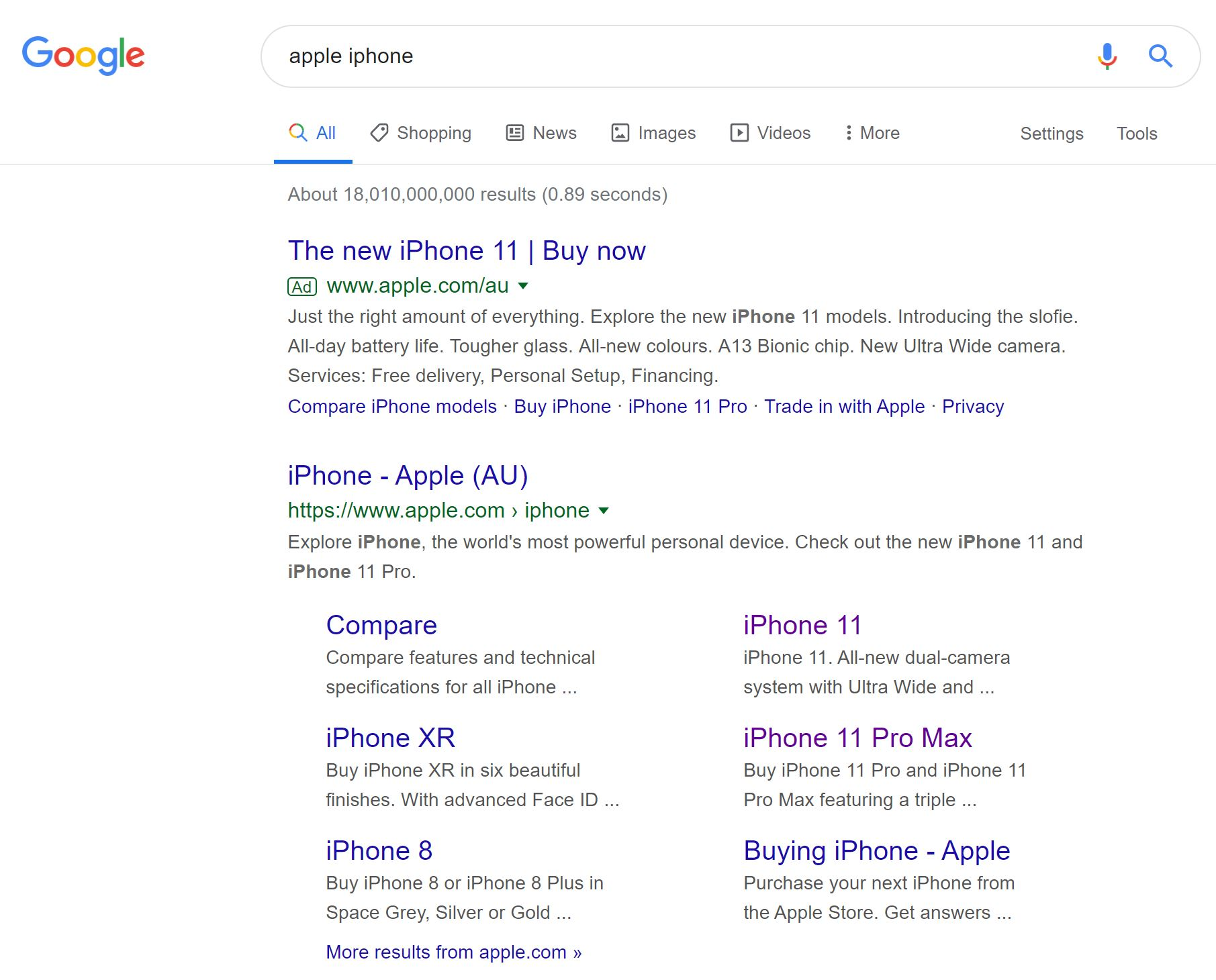 Apple iphone Google Search Results