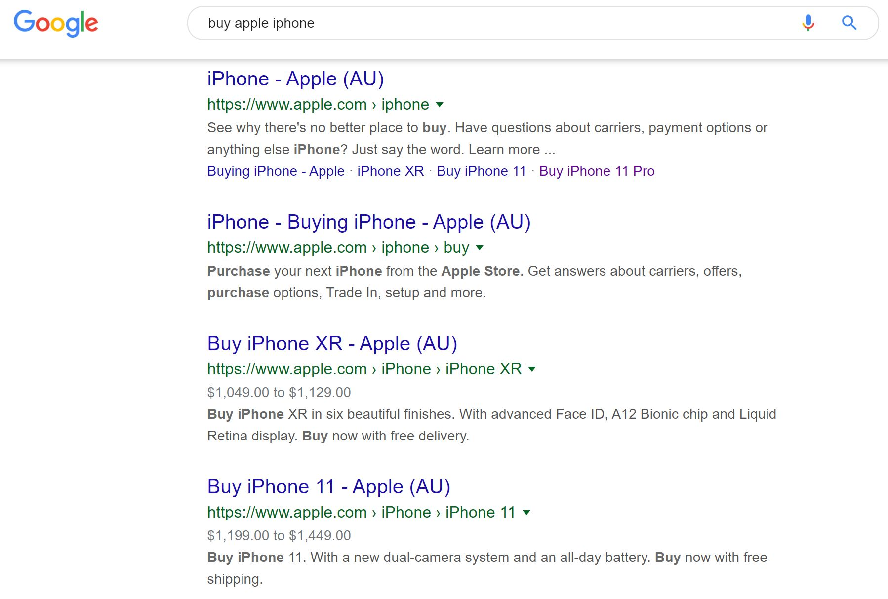Buy Apple iphone Google Search Results